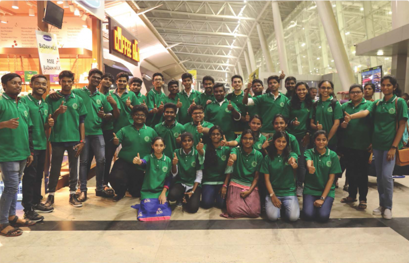 uv gullas students in chennai airport