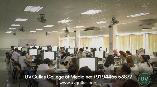 uv gullas college of medicine students in classroom & studying